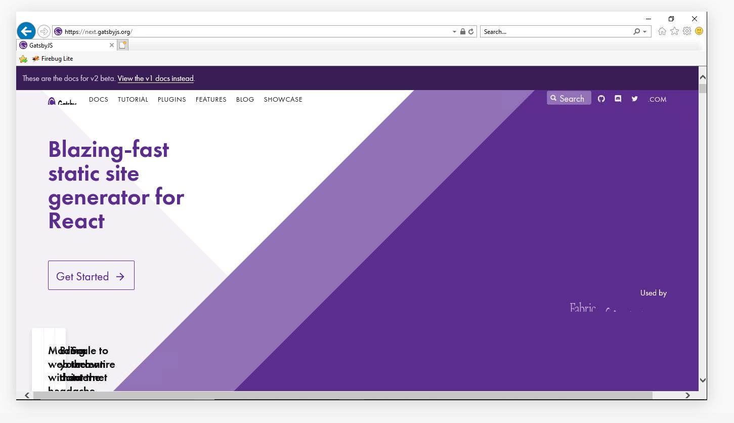 Gatsby v2 Landing Page Broken on IE11 · Issue #6398