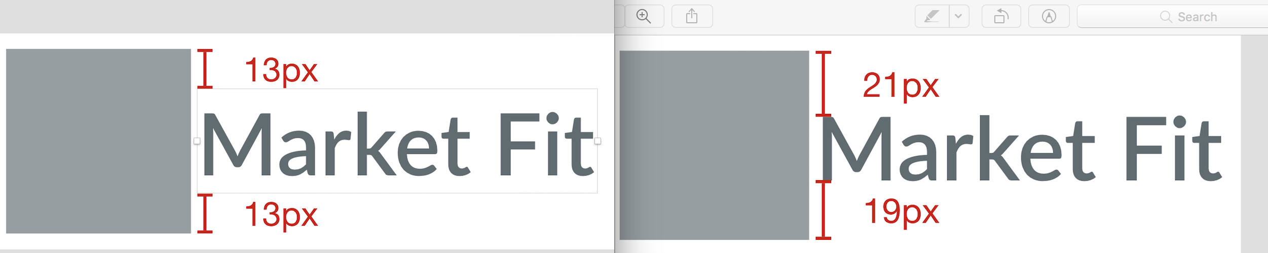 type vertically centered to the right of a square icon. visually it's too low when space is equally distributed above or below the container