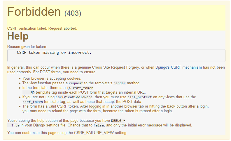 CSRF verification failed  Request aborted  · Issue #4558