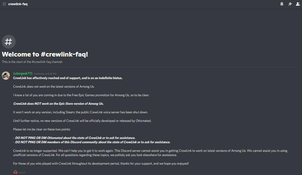 CrewLink has been discontinued