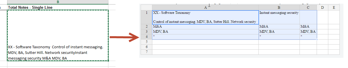 Copy-paste from excel moves text to multiple cells · Issue