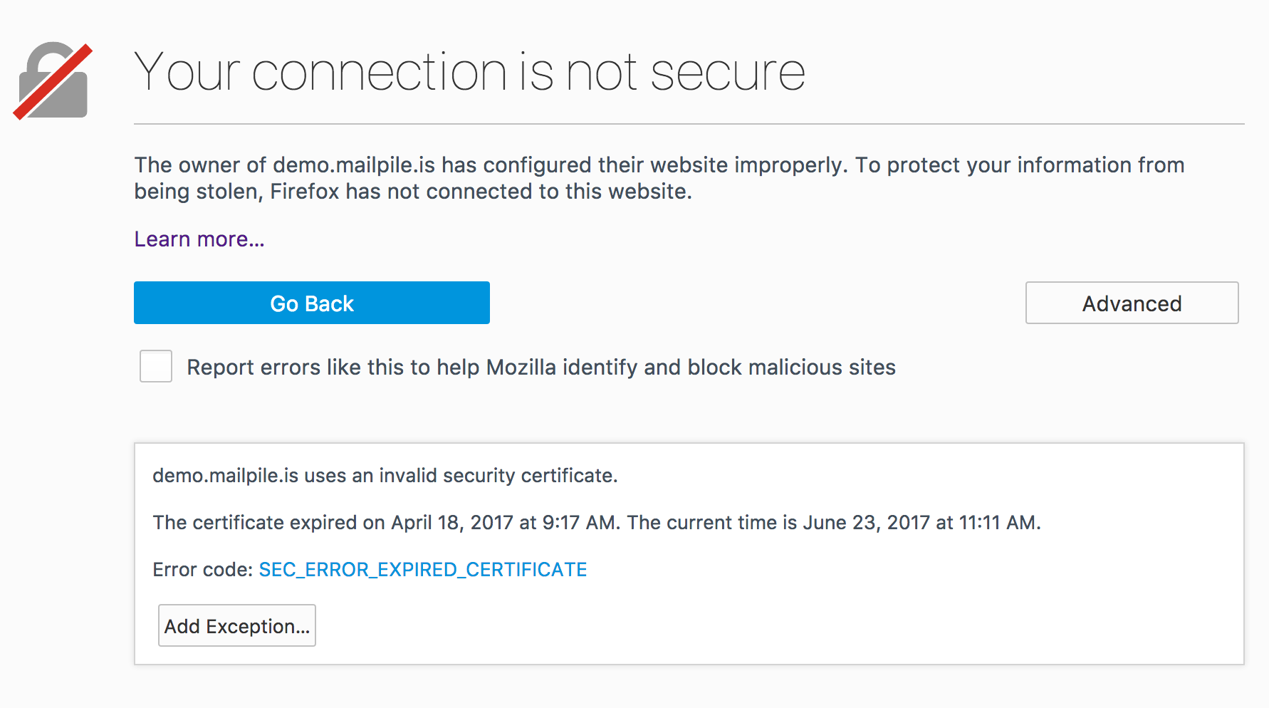 Ssl Cert For Demo Has Expired Issue 1853 Mailpilemailpile Github