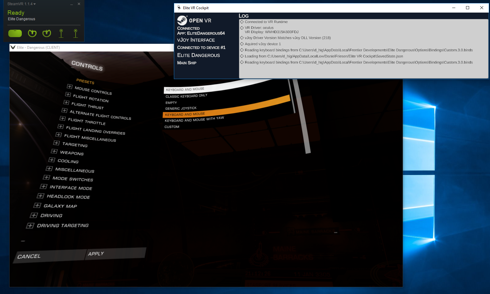 Oculus Rift: Detects in win7 compat (steamVR), but then no