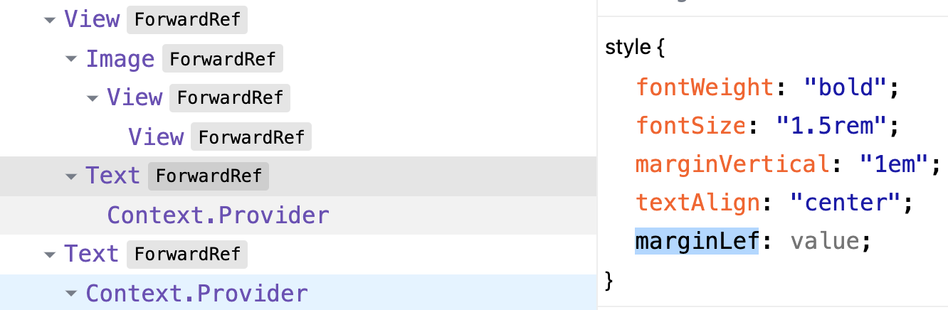 screenshot of the dev tools where I selected a Text element and edited its styles