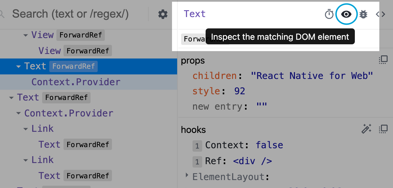 screenshot of the button to inspect the matching DOM element