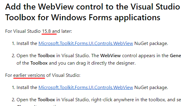 VS 15 8 5 now automatically picks up WebView control · Issue