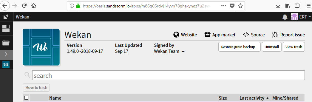 Error when logging in to Wekan REST API when using Sandstorm