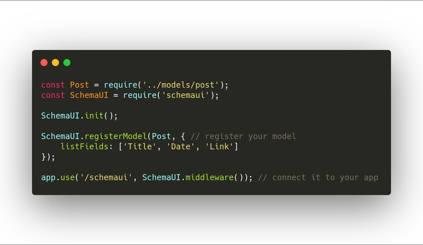 Schema UI code