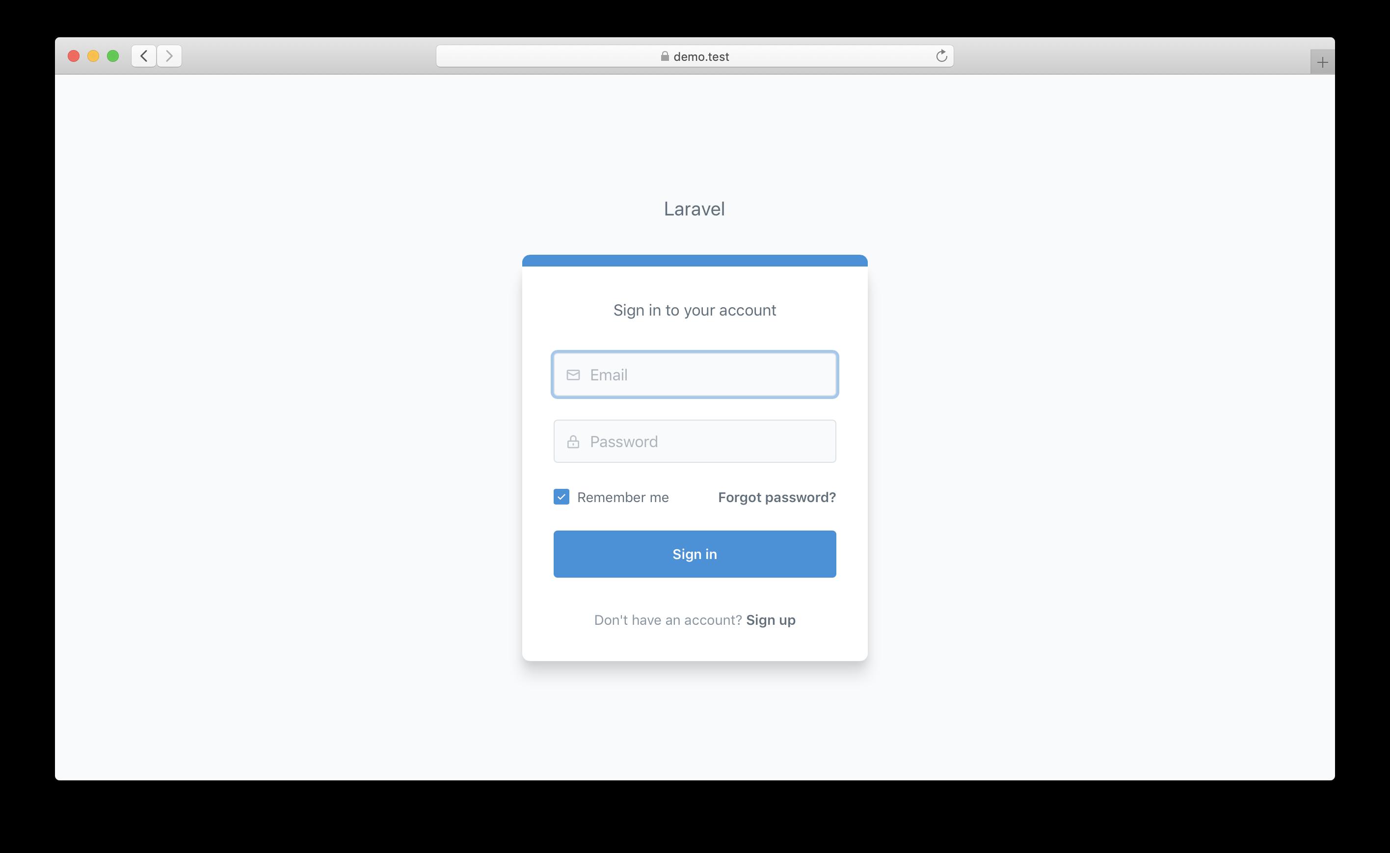 screenshot of login.blade.php