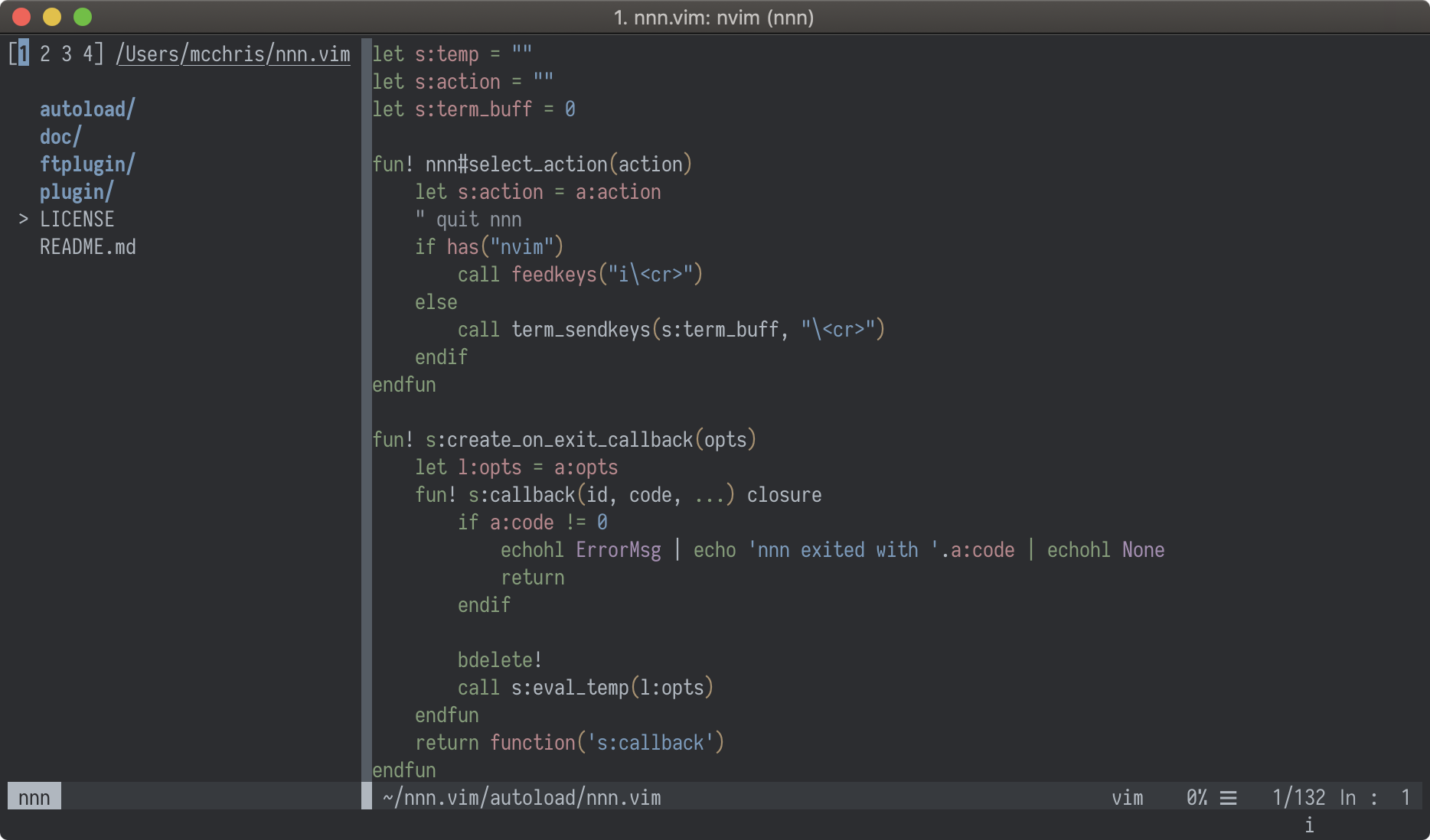 mcchrish/nnn vim: Fast and featureful file manager in vim
