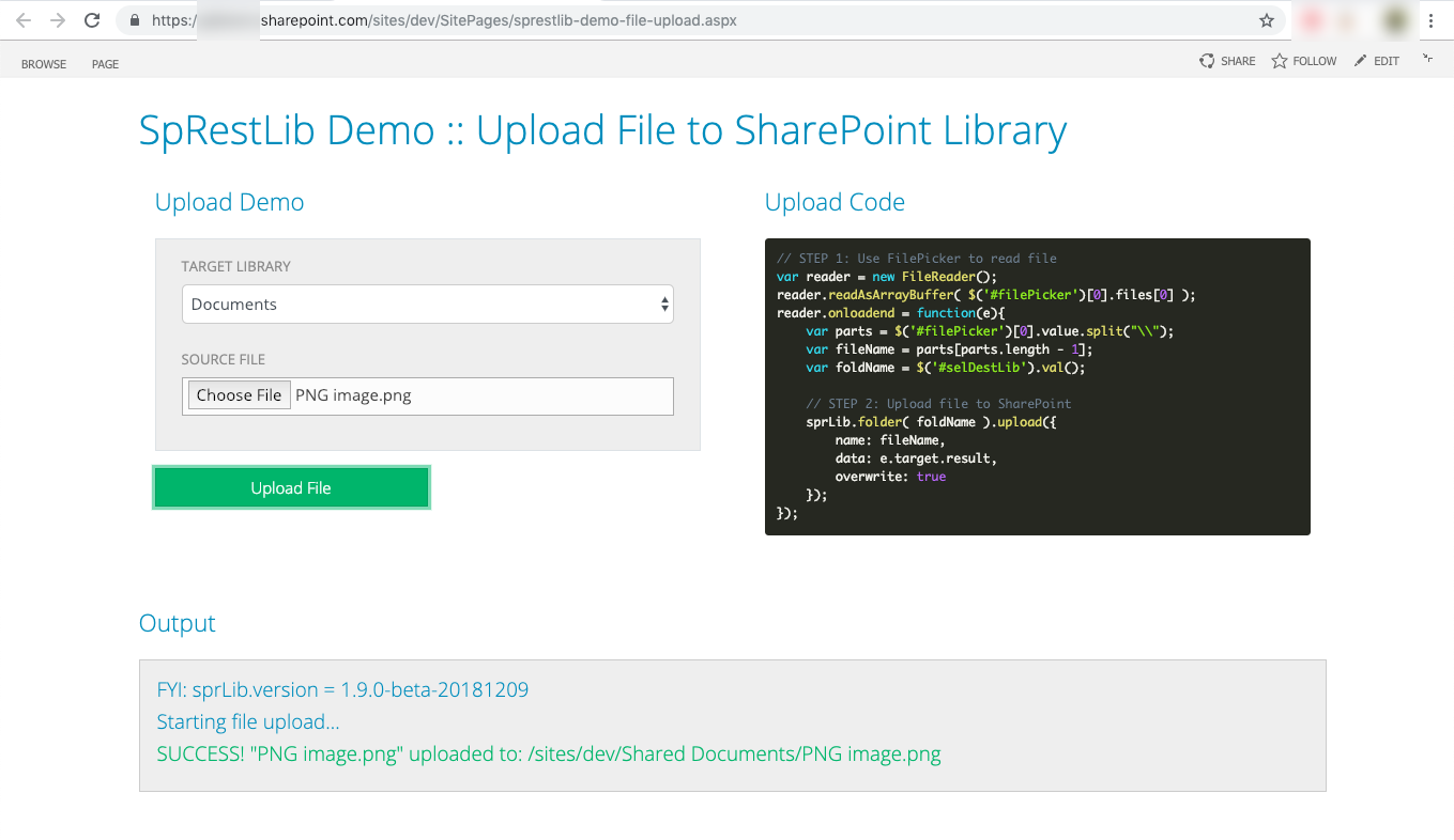Uploading a file to a SharePoint library using JavaScript