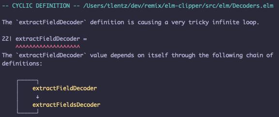 Error message for recursive data structure