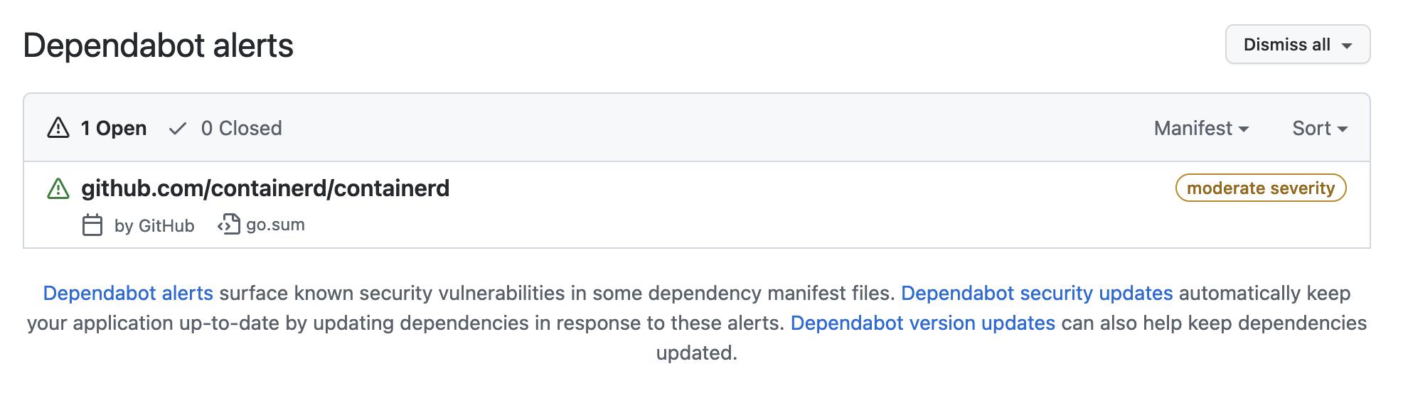 Screenshot of Dependabot alerts