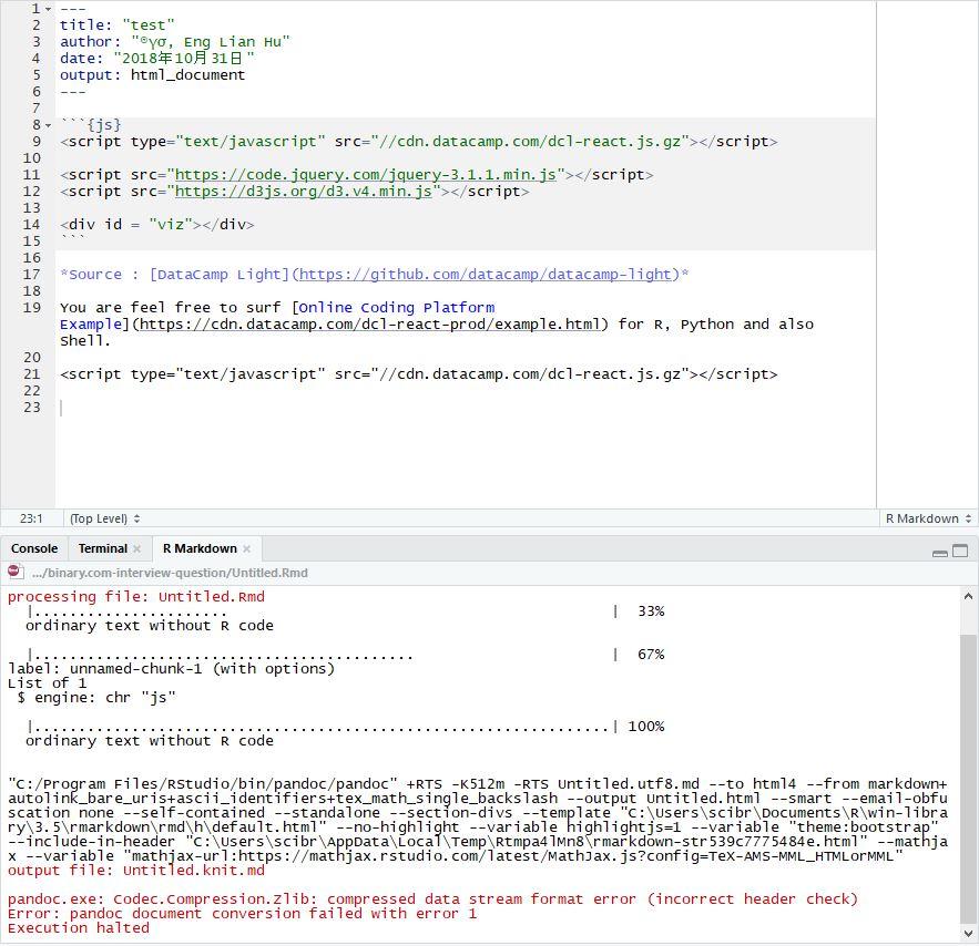 pandoc exe: Codec Compression Zlib: compressed data stream format