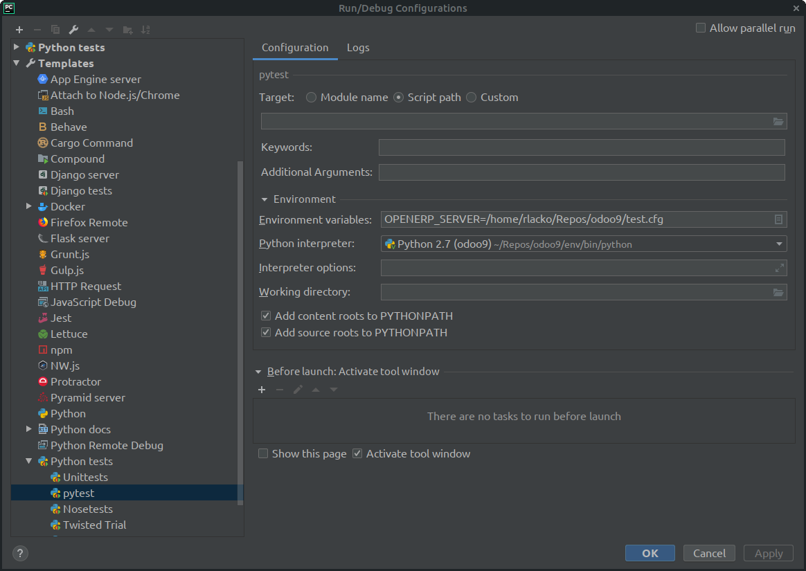 PyCharm support/usage · Issue #31 · camptocamp/pytest-odoo
