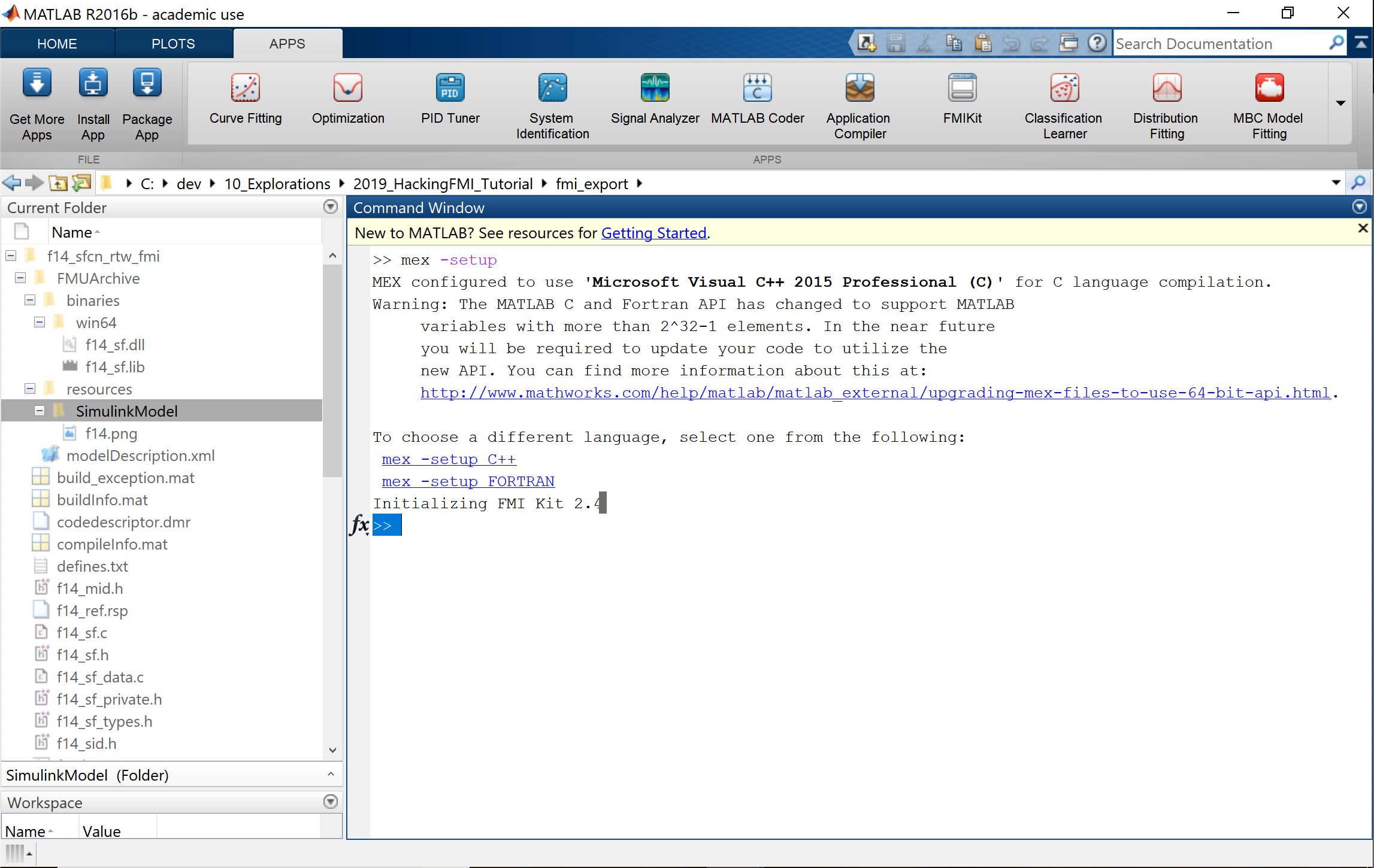 Matlab R2016b FMU Export in ME and Co-simulation error