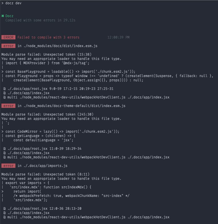v1 0 0-rc * Compiled with errors: Module parse failed