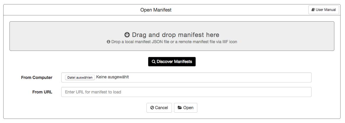 Open remote manifest or upload local manifest