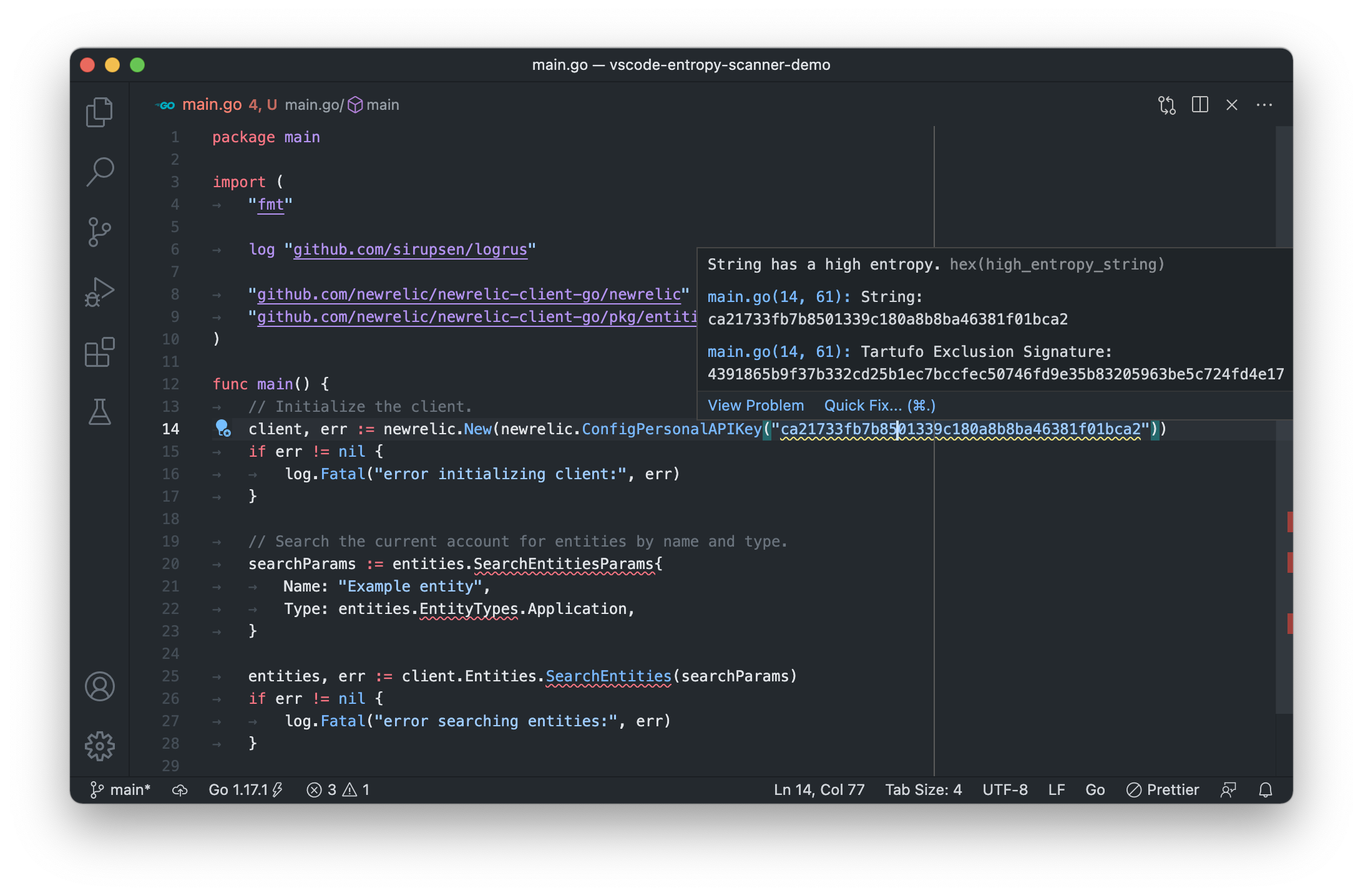 Screenshot of the Visual Studio Code extension in action
