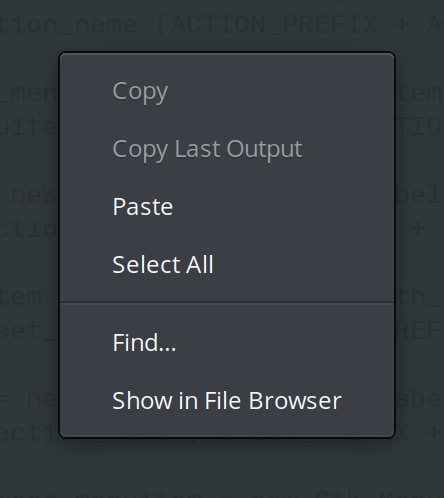 Terminal context menu