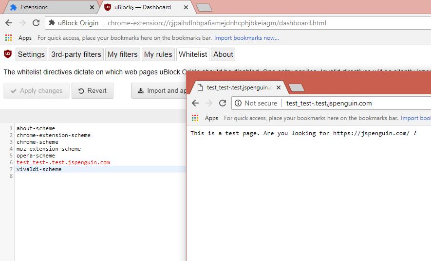 Underscore in domain name breaks whitelist editor · Issue