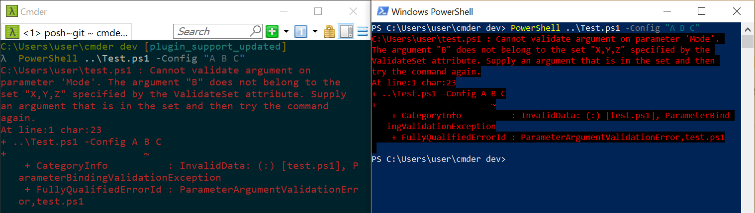 powershell exe parameters with spaces
