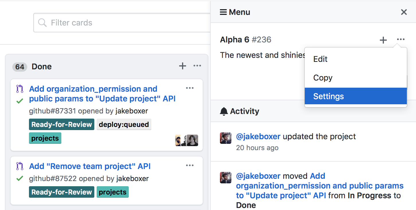 Find your collaboration settings on your project board