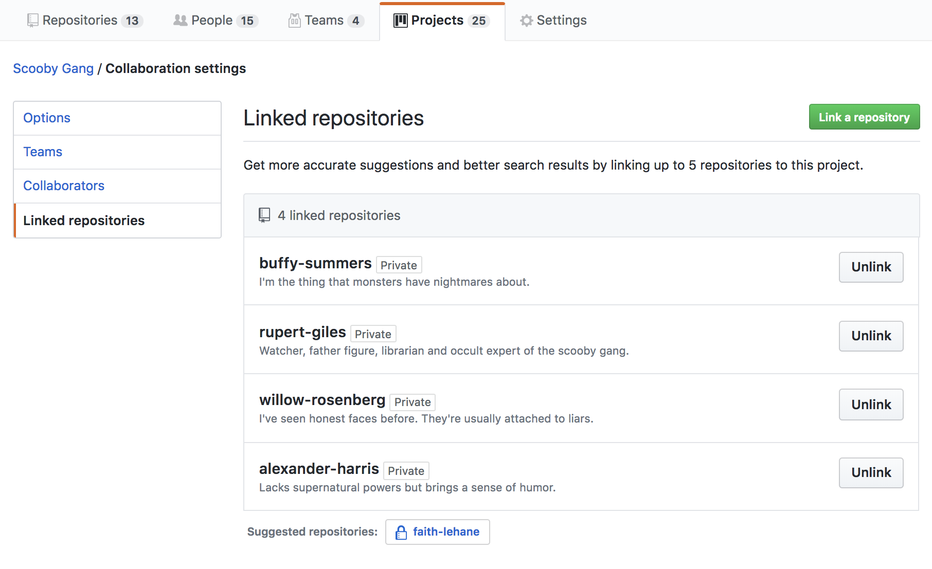 Link repositories to your projects board for easier, more relevant search options