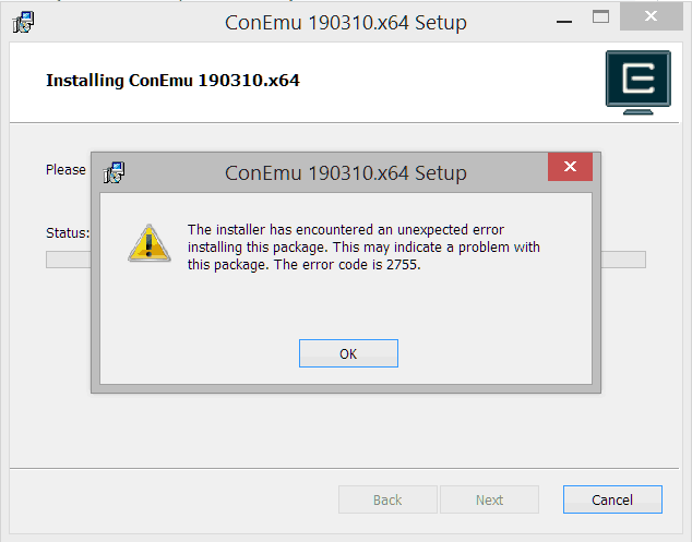 Installer error 2755 / 1603 / 1703 · Issue #1870 · Maximus5
