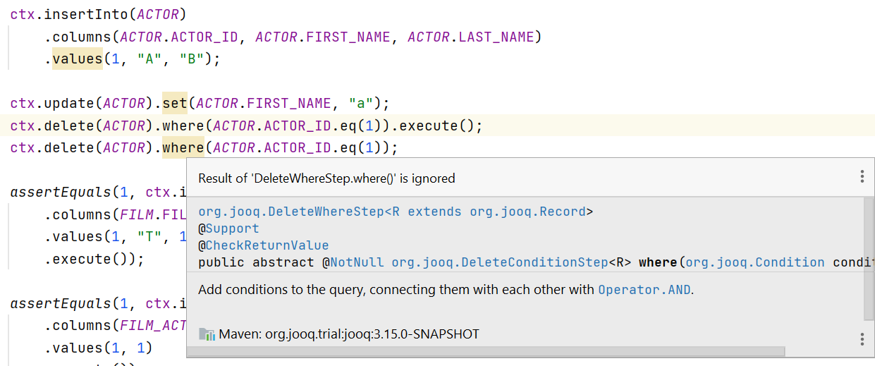 Never Again Forget to Call .execute() in jOOQ – Java, SQL and jOOQ.