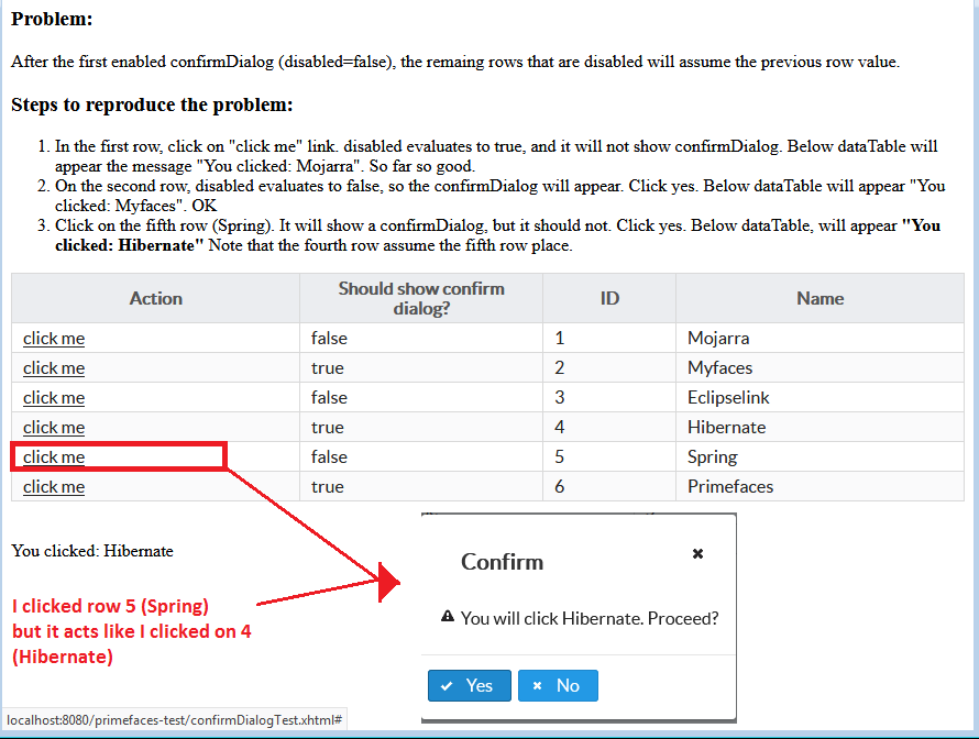 Confirm: use of disabled attribute inside dataTable produces wrong
