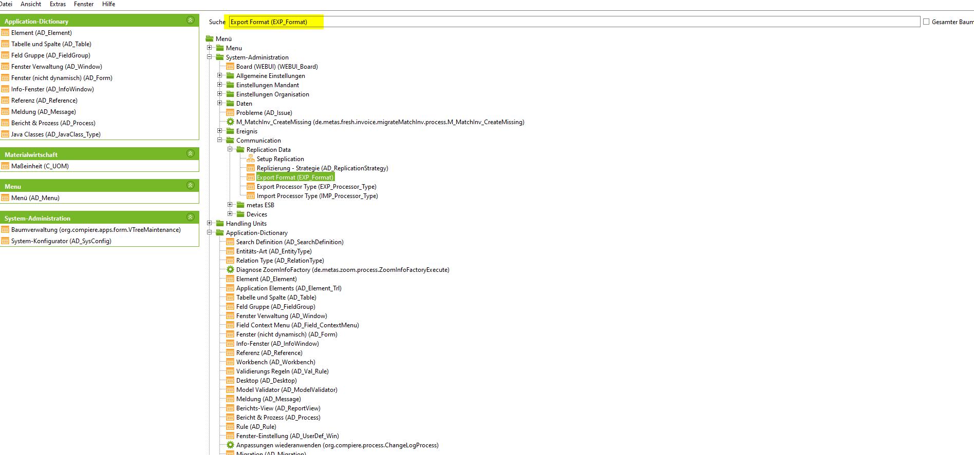 Export format menu item