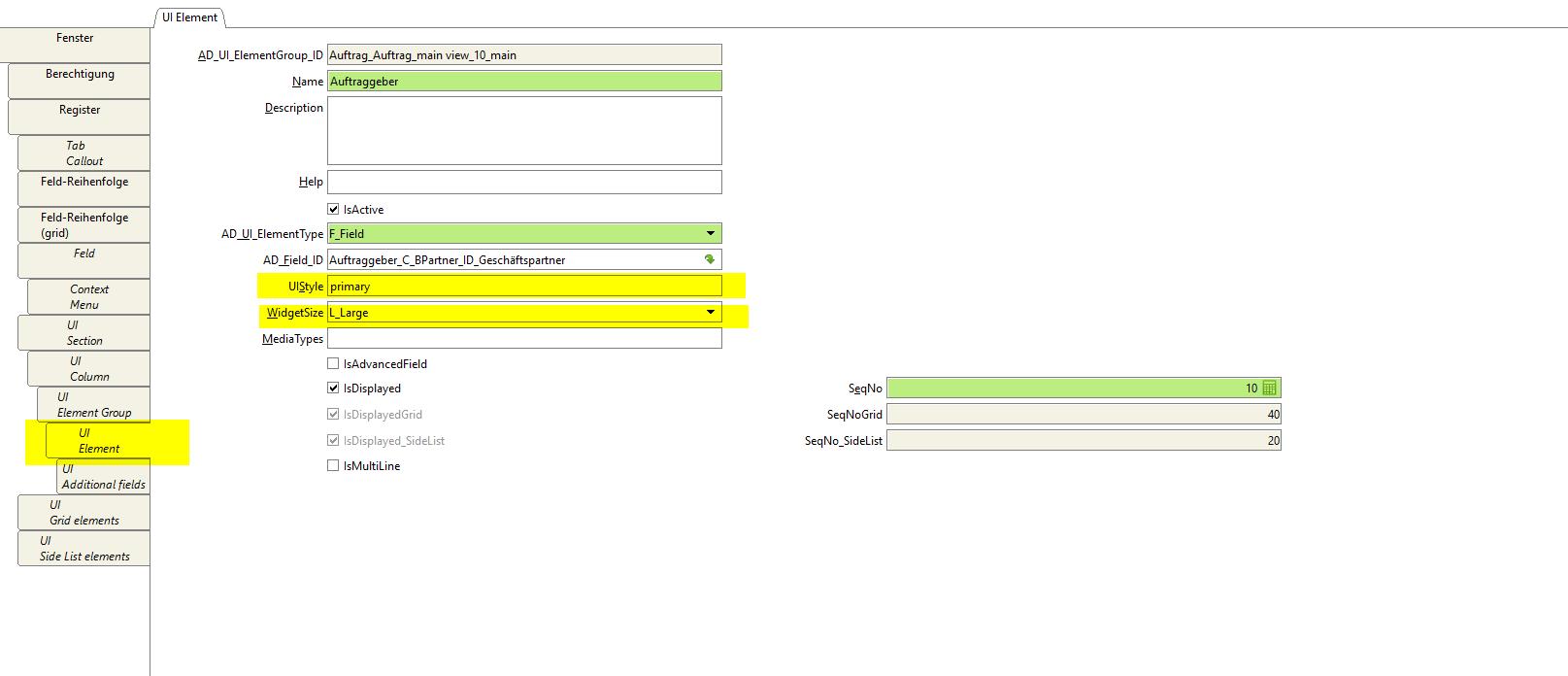 UI Element Tab, UISTyle, WidgetSize