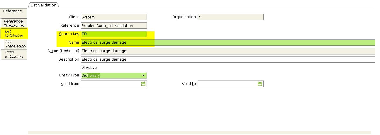 List validation tab