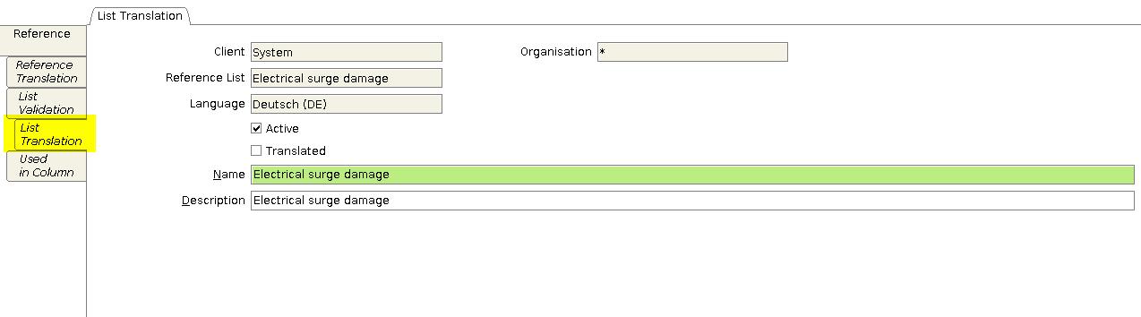 List translation tab