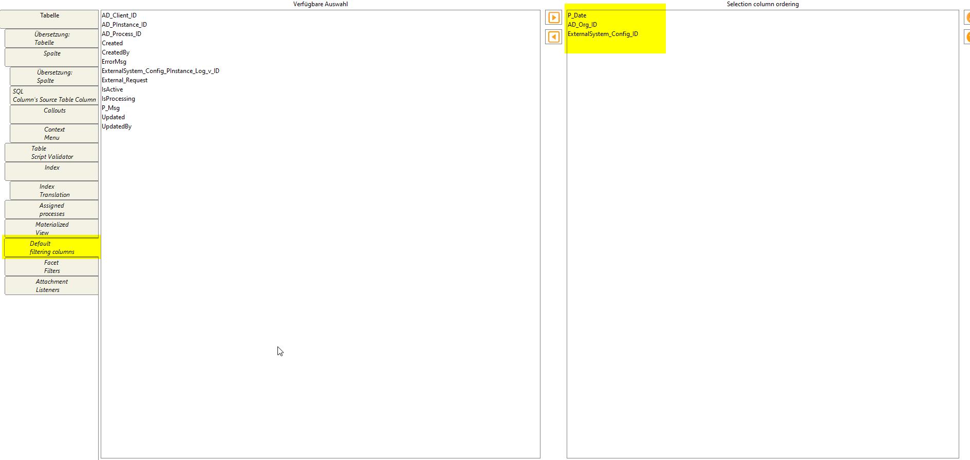 Select default filtering columns