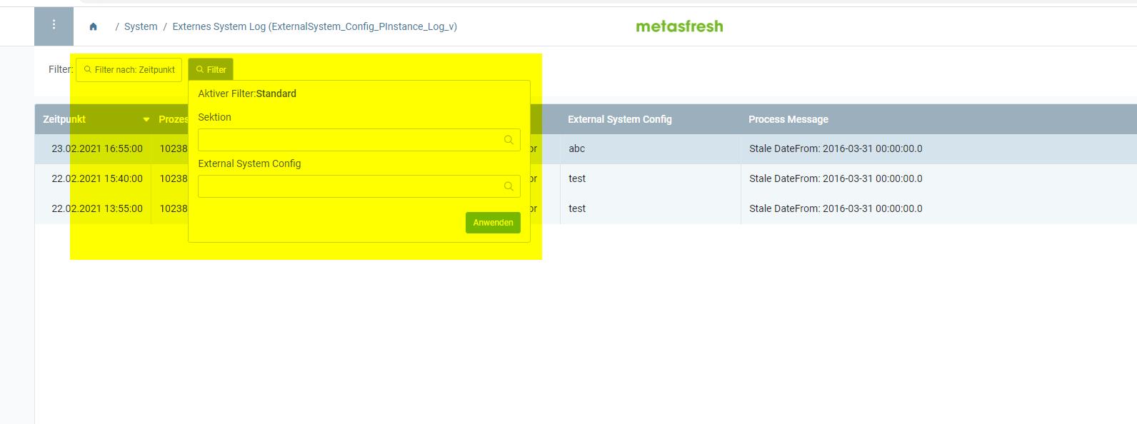 WebUI default filter