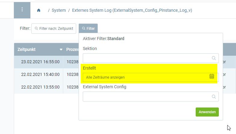 'Date created' filter WebUI