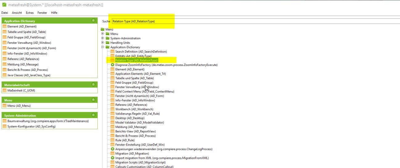 Relation Type menu entry