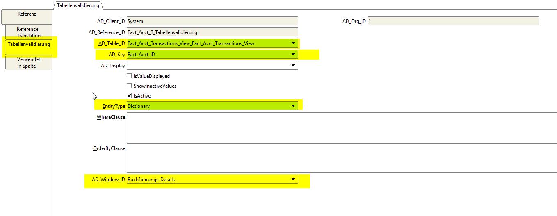 Table validation tab