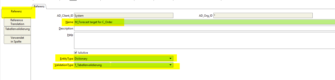 New target reference with validation type