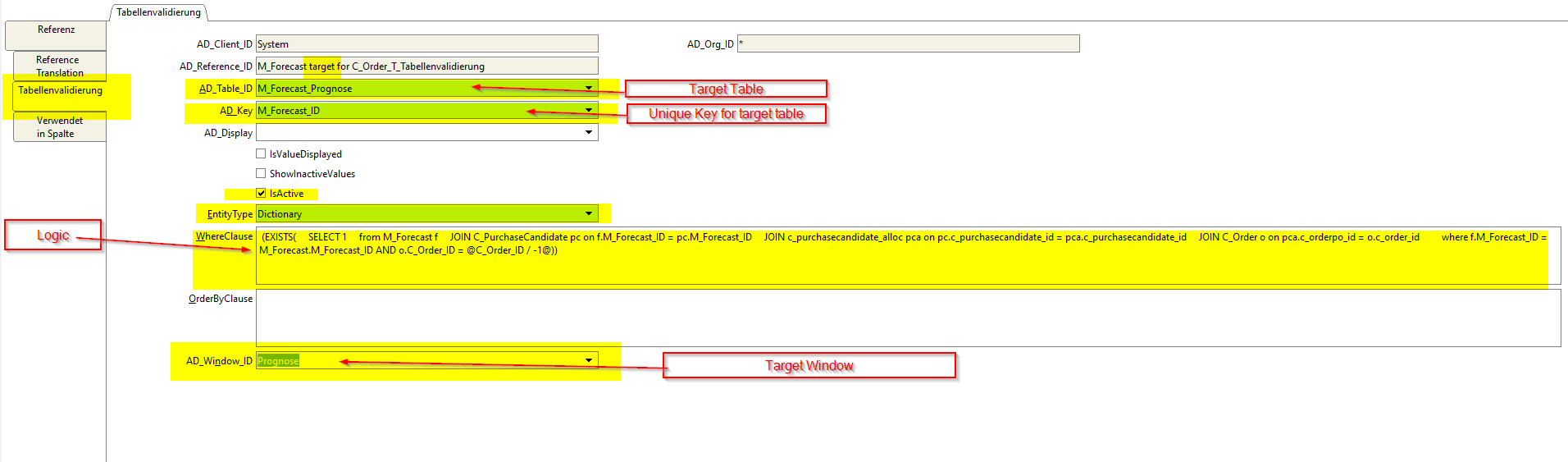 Table validation target reference
