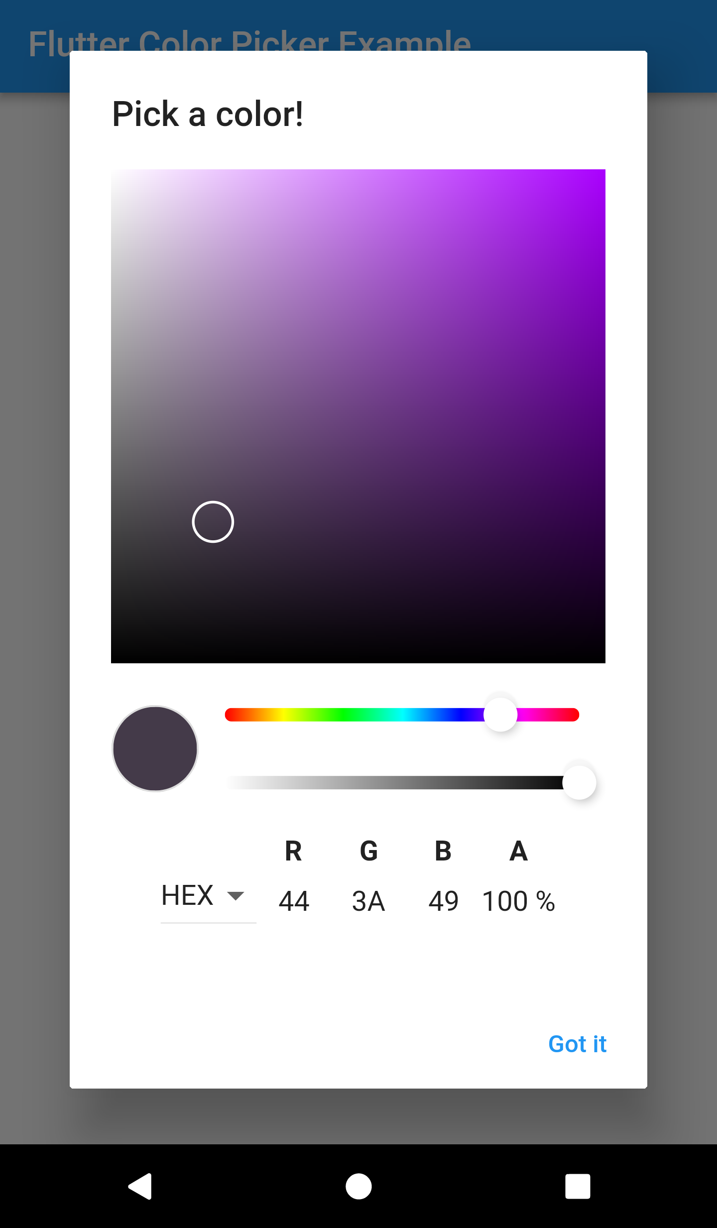 How to work around using the colorpicker inside an