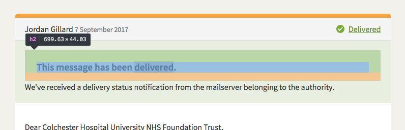CSS padding bug on header inside correspondence-delivery
