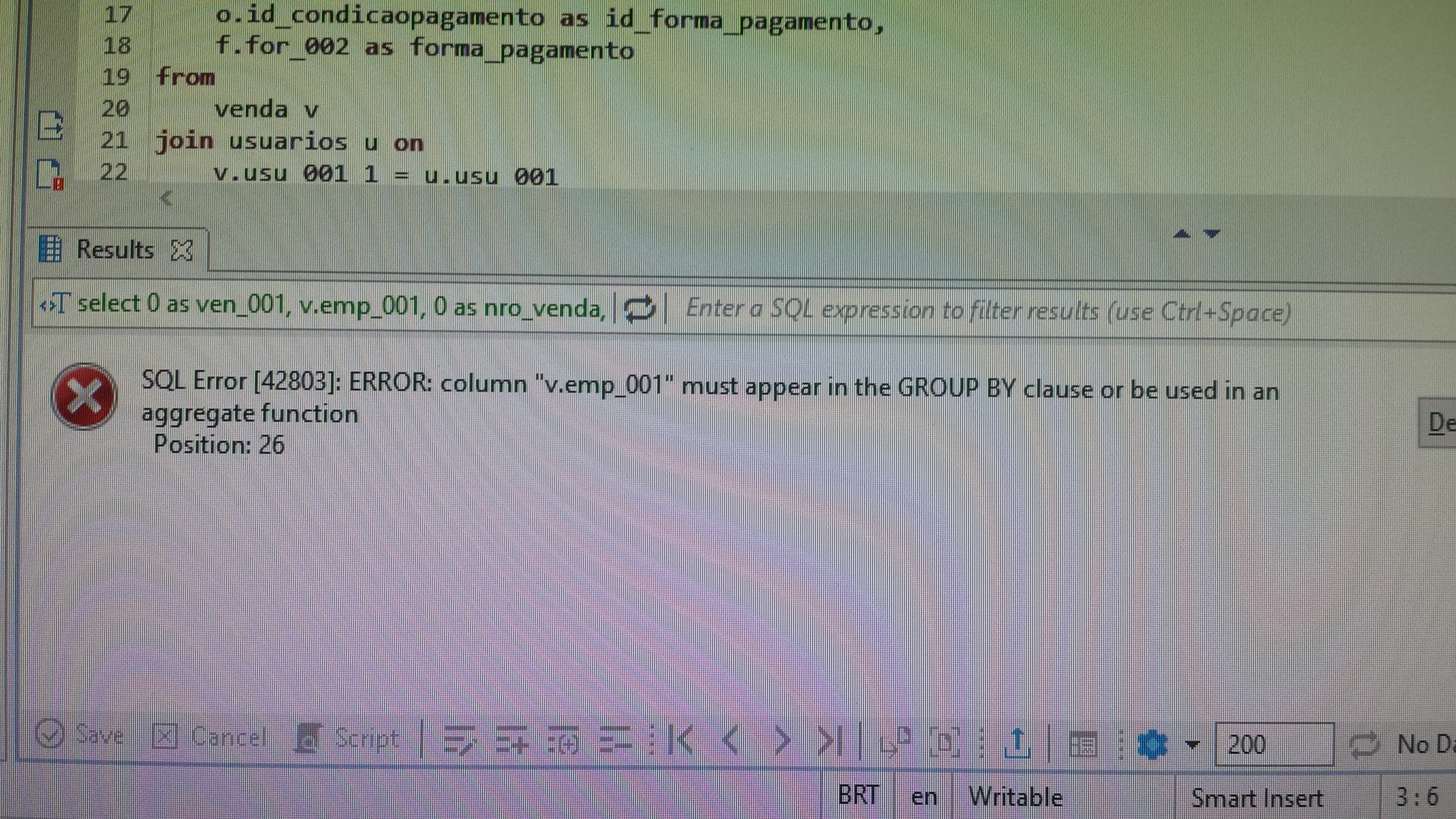 SQL using GROUP BY clause don't perform with DBeaver, but