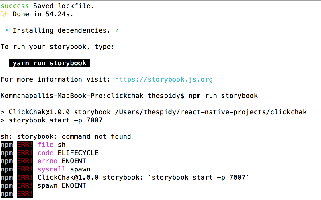 storybook/react-native is not installed when using getstorybook