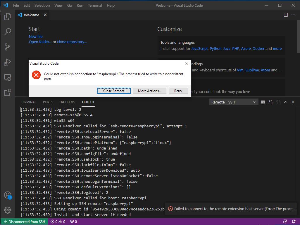 Visual Studio Code Error