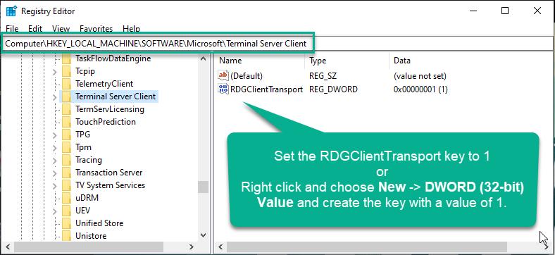Set RDGClientTransport Key