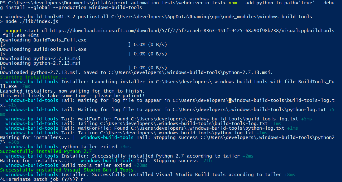 Stuck after installing Visual Studio Build Tools · Issue #47