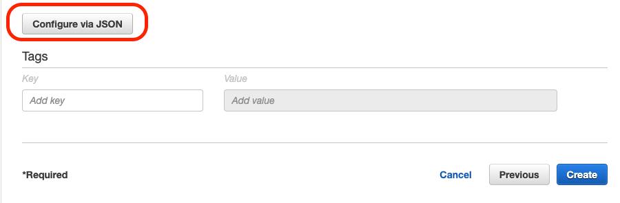 Configure via JSON button